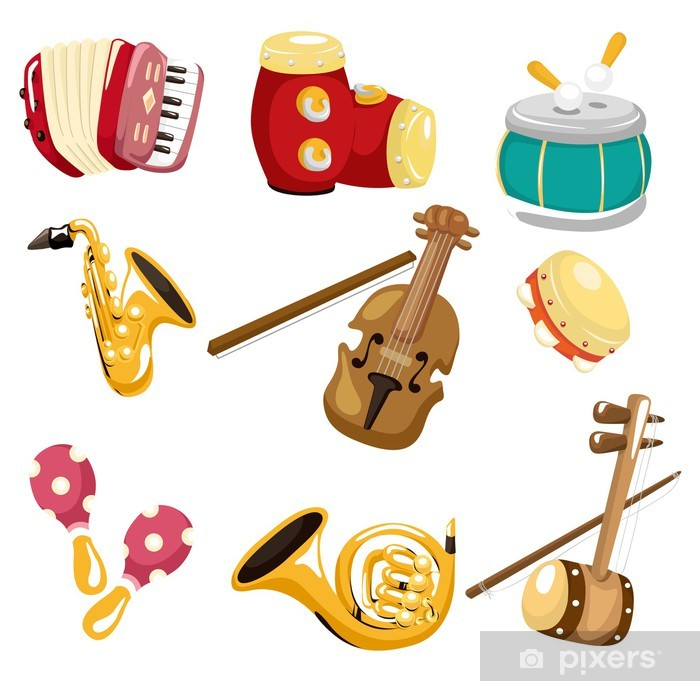 Vinilo Pixerstick De Dibujos Animados Icono De Instrumento Musical