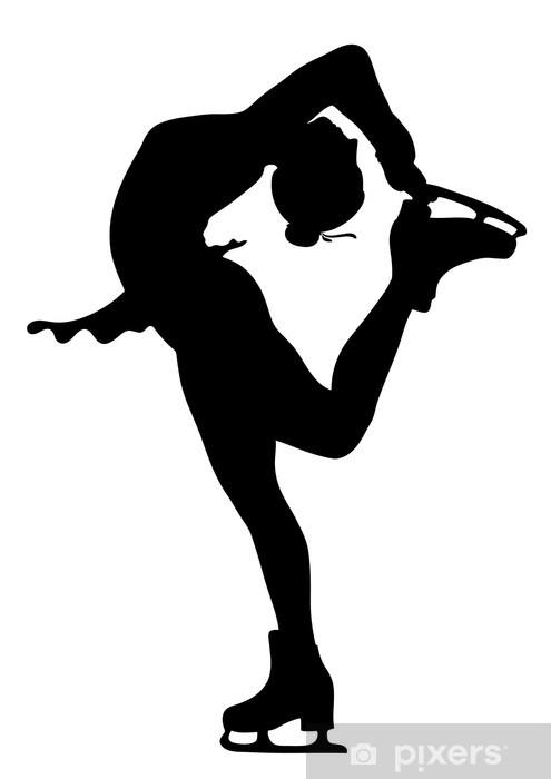 Fototapeta winylowa Łyżwiarstwo figurowe na lodzie ikonę w czerni - Sporty indywidualne