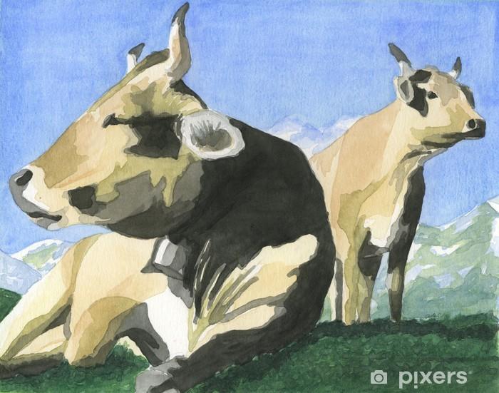 Papier peint vinyle Vaches dans les montagnes. Aquarelle peinte à la main. - Mammifères