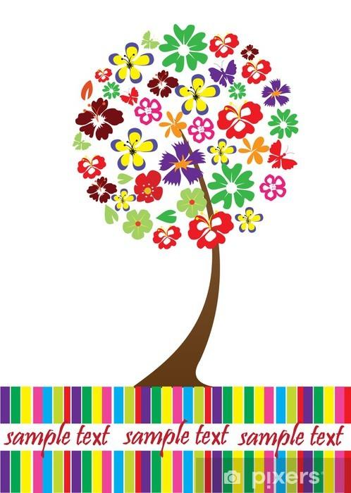 Fototapeta winylowa Wektora karty z kwiatów drzewa i miejsca na tekst - Drzewa