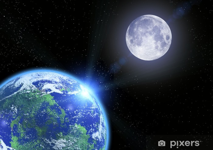 The earth the moon and stars in space Self-Adhesive Wall Mural - Destinations