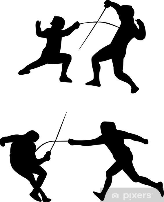 Papier peint vinyle Escrime vecteur silhouettes - Sports extrêmes