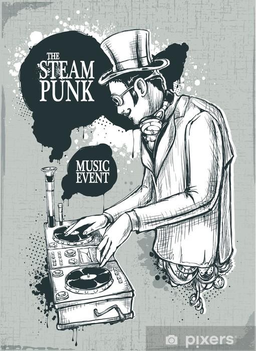Steampunk musical poster Pixerstick Sticker - Steampunk