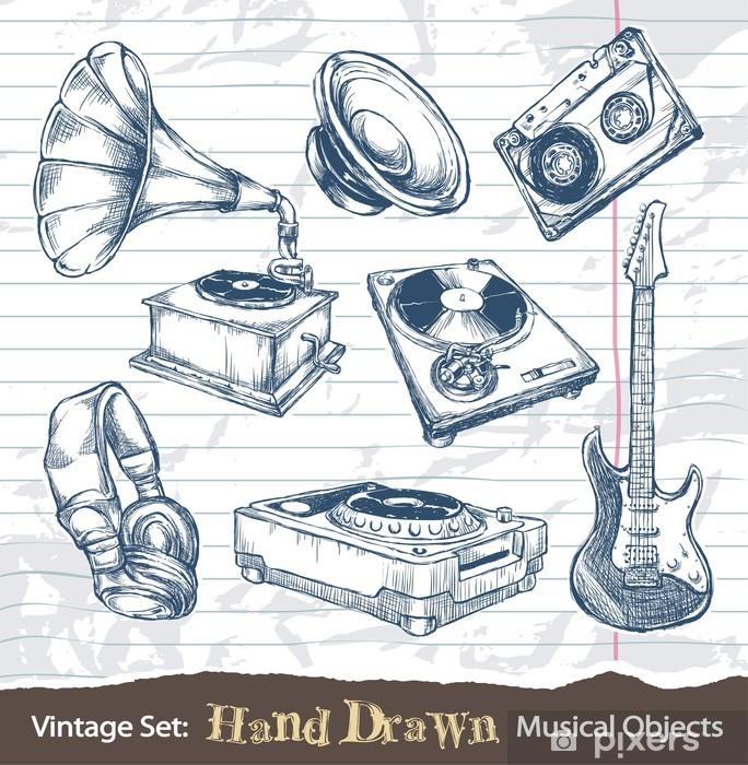 Naklejka Pixerstick Zestaw ręcznie rysowane obiekty muzyczne - Sztuka i twórczość
