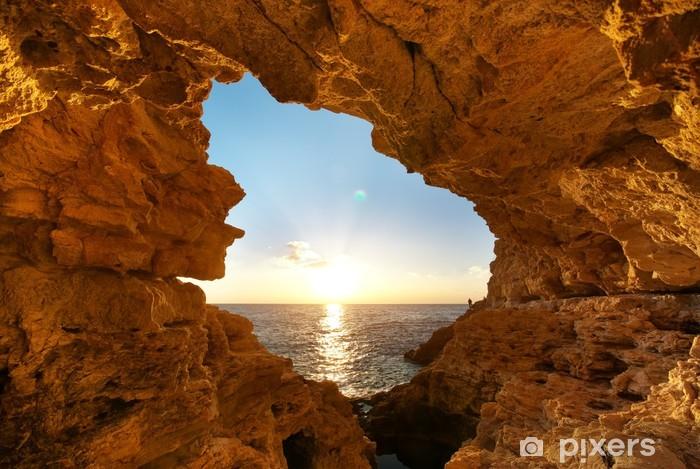 Pixerstick Dekor Sunset in i grotta - Vatten