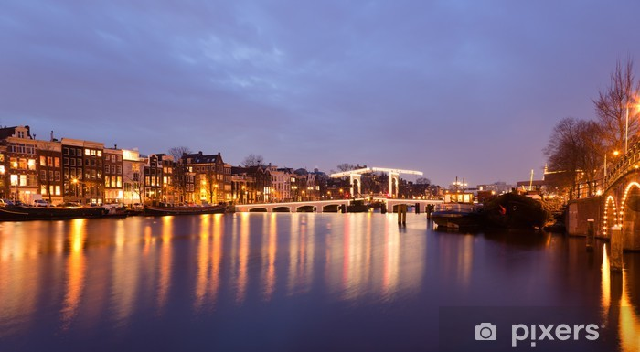 Magere Brug on the Amstel River in Amsterdam Pixerstick Sticker - European Cities