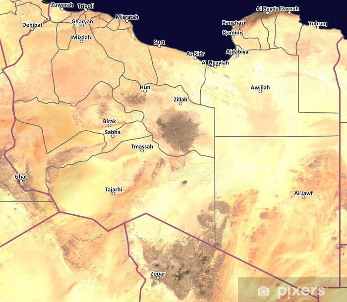 Satellite map of Libya with cities and province outlines Wall Mural - Vinyl