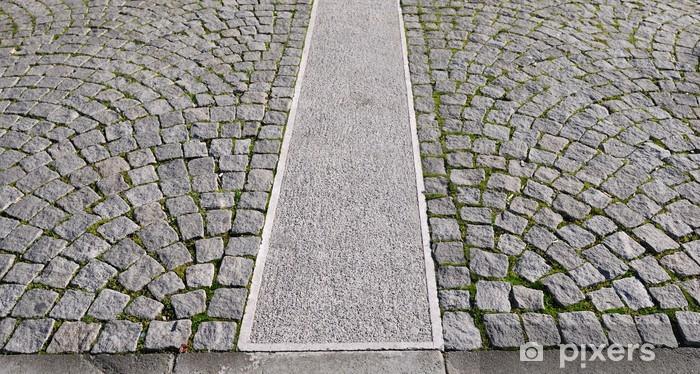 Pixerstick Aufkleber Alte grau Pflasterung in einem Muster in einer mittelalterlichen Altstadt. - Schwerindustrie