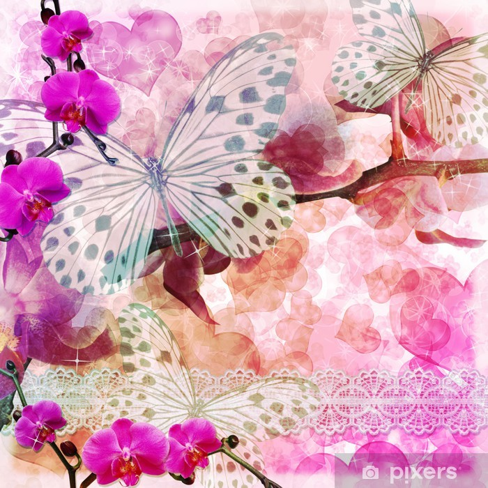 Butterflies and orchids flowers pink background ( 1 of set) Framed Poster - Themes