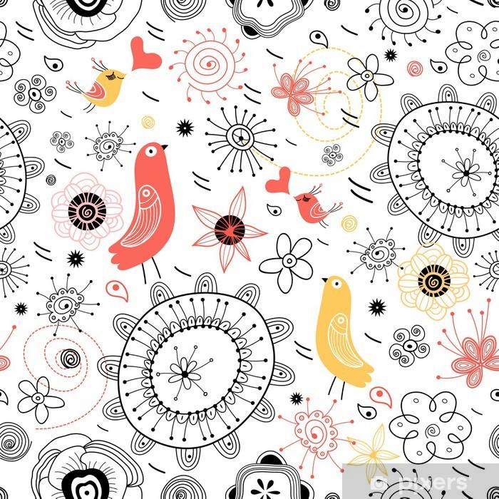Papier peint vinyle Modèle naturel avec des oiseaux - Textures