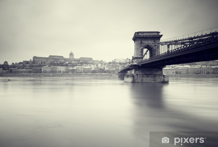 Gloomy winter image of Hungarian landmarks, Pixerstick Sticker - Europe