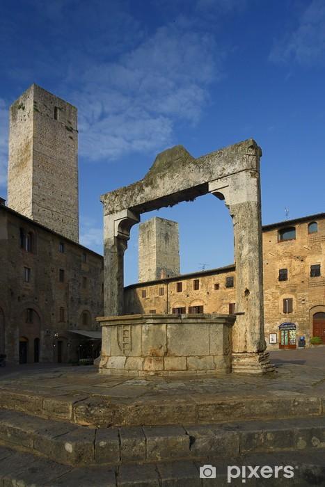Papier peint vinyle San Gimignano, Piazza Cisterna - Europe
