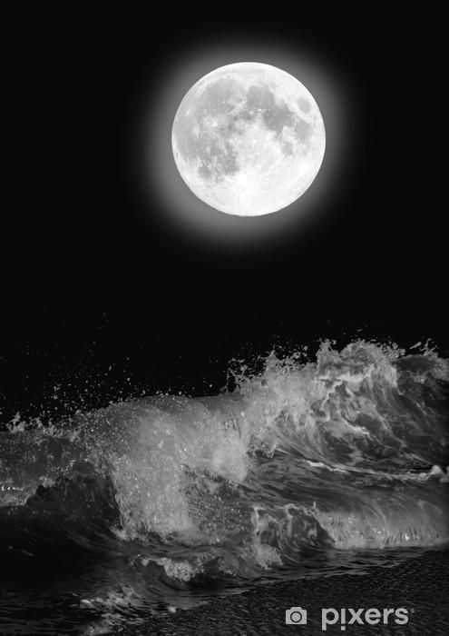 Carta Da Parati La Luna Piena Sopra Il Mare Di Notte Pixers