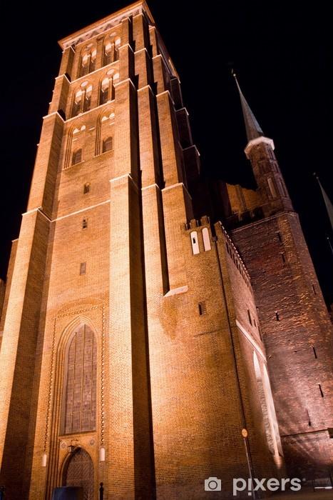 Naklejka Pixerstick Kościół Mariacki w Gdańsku nocą - Europa
