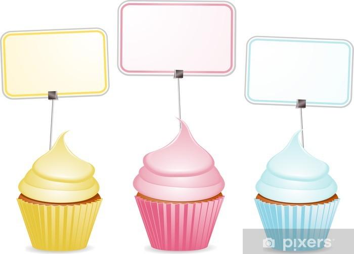 Fototapeta winylowa Cupcakes i etykiety - Słodycze i desery