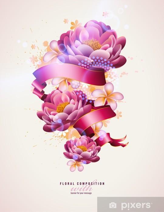 Carta da Parati in Vinile Colorata composizione floreale con simboli di acquerello e banner - Sfondi