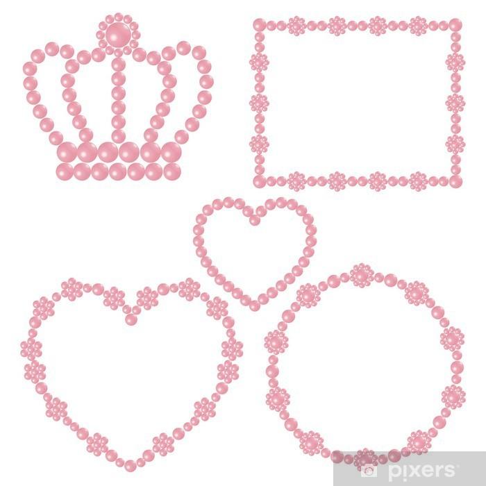 Póster Marco de perlas de color rosa - Celebraciones