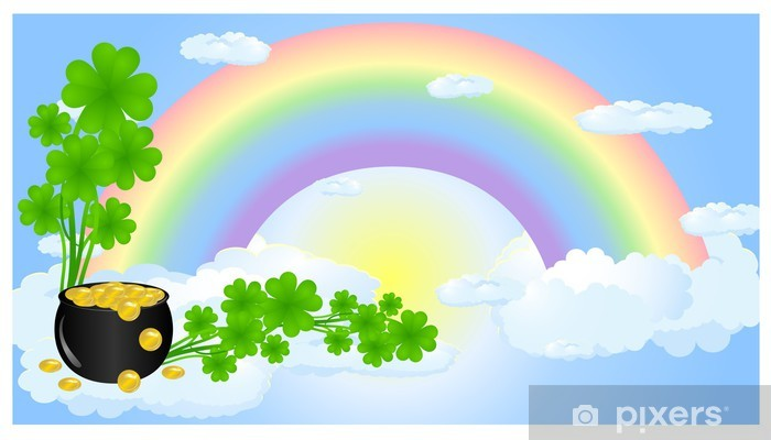 Rainbow In Clouds With Pot Gold And Clover Wall Mural