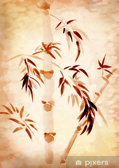 Bamboo drawn Vinyl Wall Mural - Asia