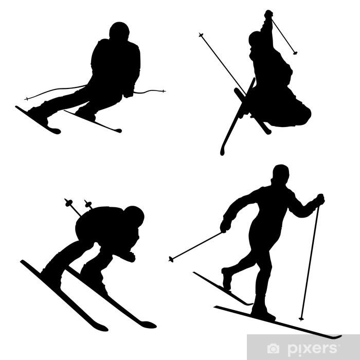 Poster Ensemble de différent ski de sports d'hiver partie 2 de Silhouette - Signes et symboles