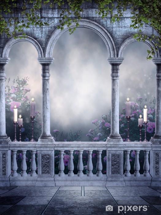 fototapete gothic balkon mit rosen und kerzen pixers