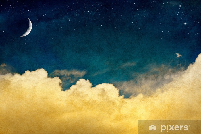 Moon and Cloudscape Vinyl Wall Mural - Themes