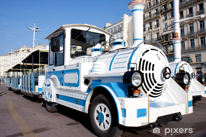 Papier peint vinyle Petit train touristique de Marseille aux couleurs de la ville. - Trains et locomotives