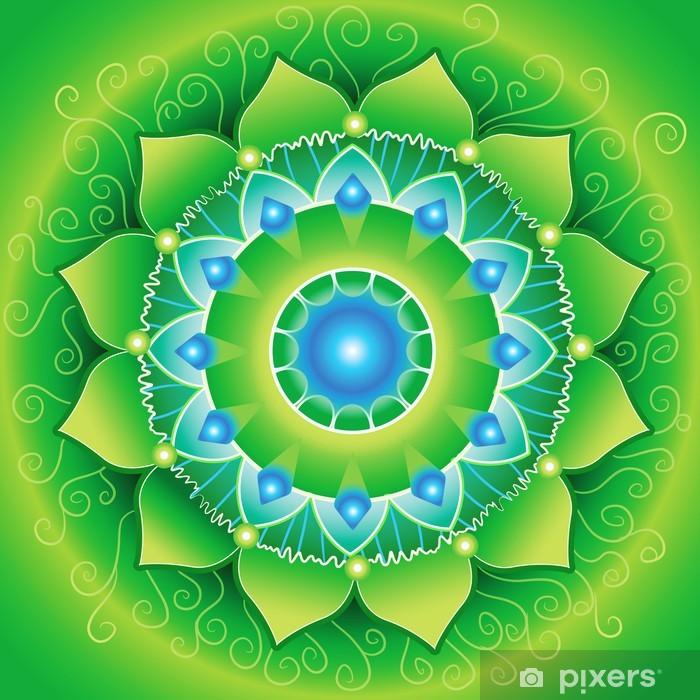 Papier peint vinyle Lumineux mandlala vert de chakra anahata, vecteur - Styles