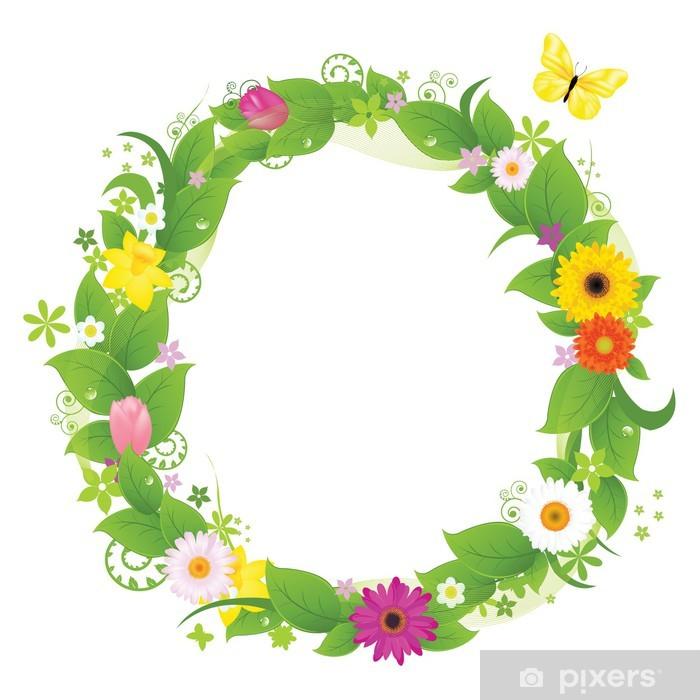 Plakat Wianek z kwiatów i liści - Kwiaty