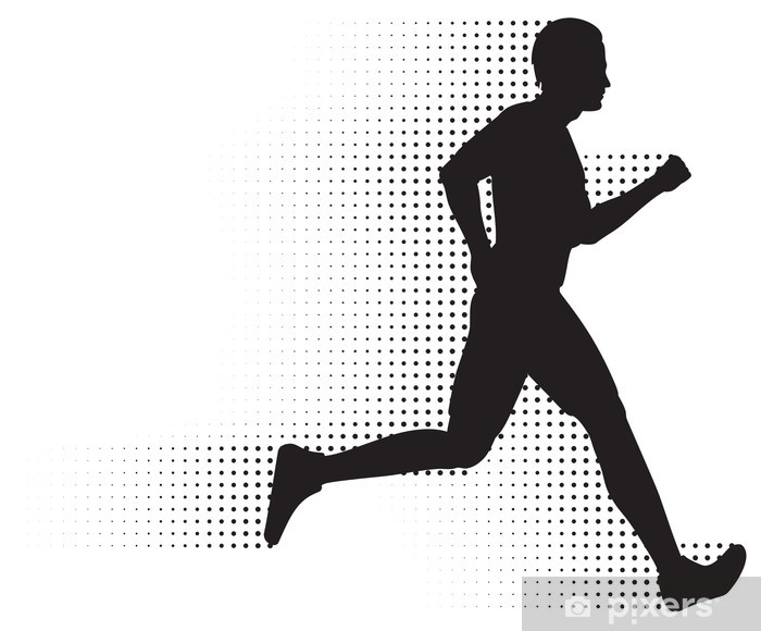 Vector Running Man Silhouette & Halftone Trail. No ...