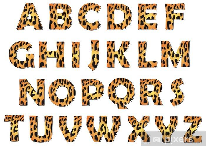 Pixerstick Sticker Leopard alfabet vector pack - Thema's