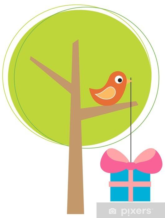 Vinyl-Fototapete Stilisierter Baum mit einem Vogel - Internationale Feste