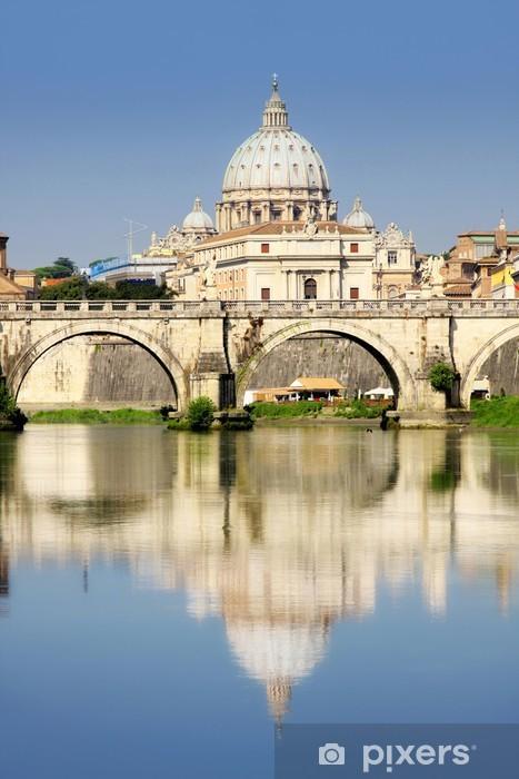 Vinilo Pixerstick Ciudad del Vaticano desde Ponte Umberto I en Roma, Italia - Ciudades europeas