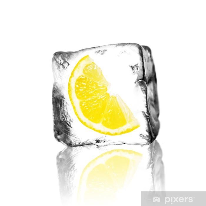 Fototapeta winylowa Lemon w bloku lodu - Owoce
