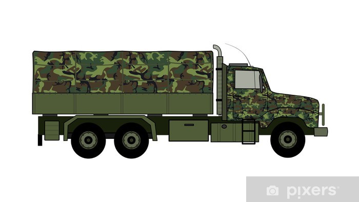 Camoflaged Army Truck Vector Sticker Pixers We Live To Change