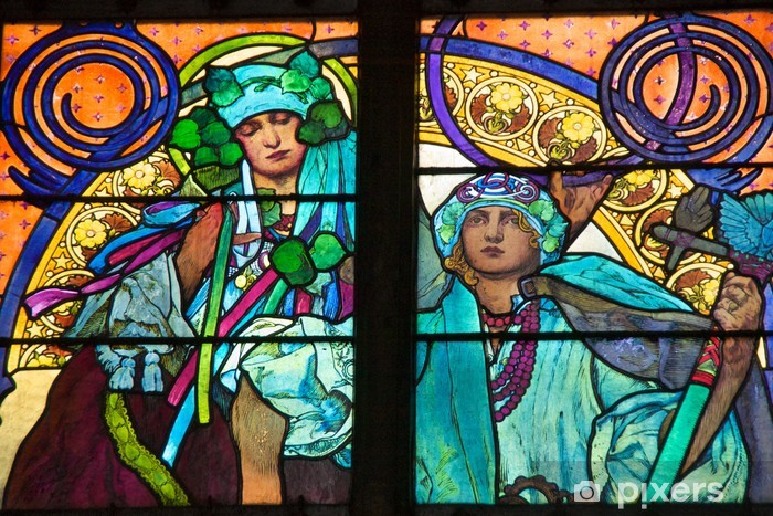 Papier peint vinyle Alfons Mucha fenêtre, la cathédrale Saint-Guy de Prague - Thèmes