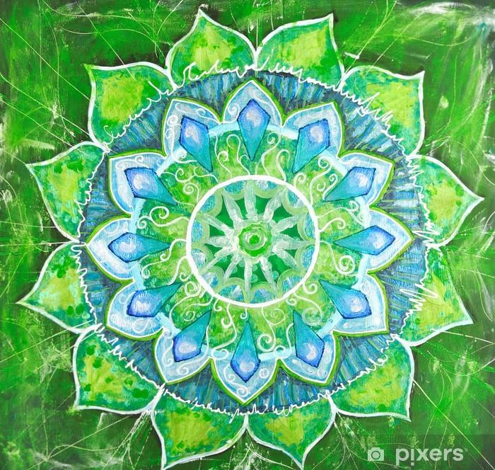 Fototapeta winylowa Streszczenie zielony namalowany obraz z okręgu deseń, mandala -