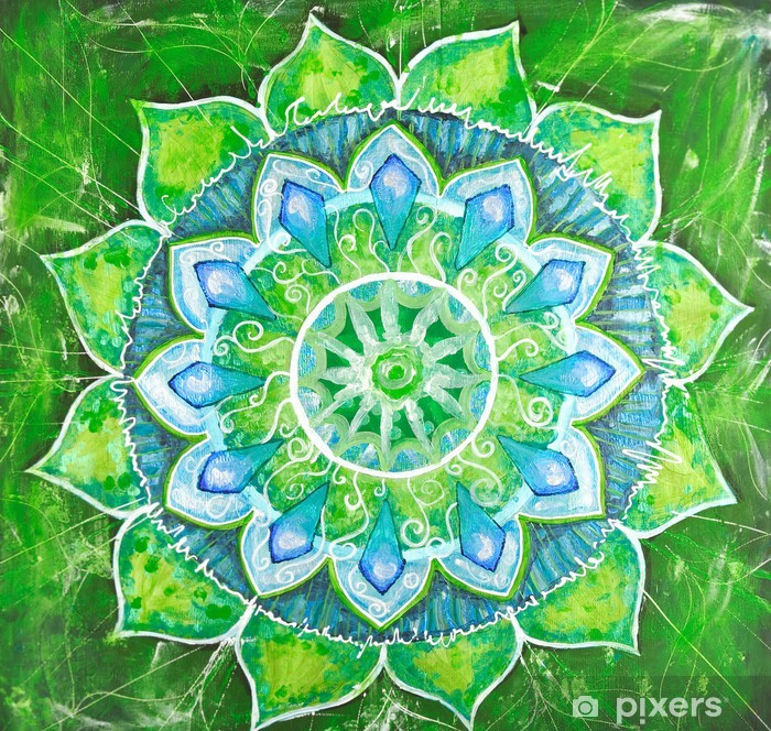 abstract green painted picture with circle pattern, mandala of a Vinyl Wall Mural -
