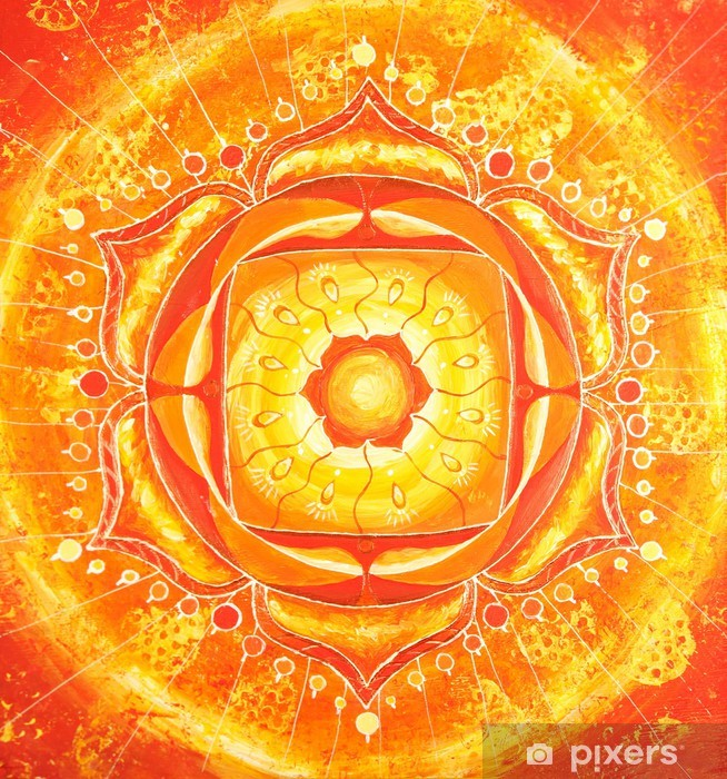Fotomural Estándar Abstracto naranja pintado imagen con el patrón de círculo, mandala de - Estilos