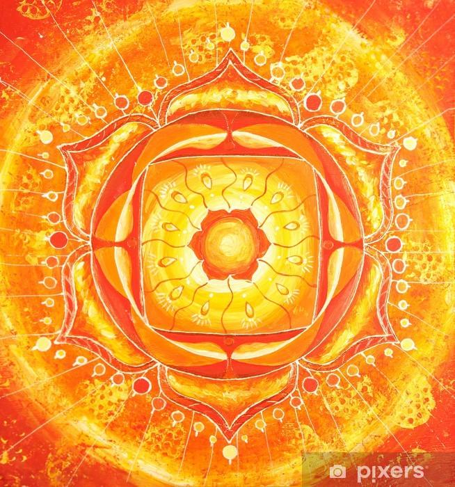 Fototapeta winylowa Streszczenie pomarańczowy wzór namalowany obraz z okręgu, Mandala - Style