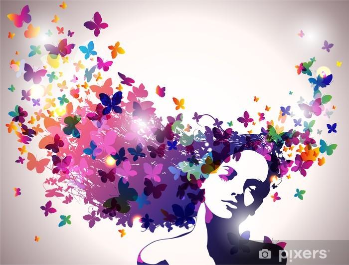Nainen, jolla on perhosia hiuksissa. Vinyyli valokuvatapetti -