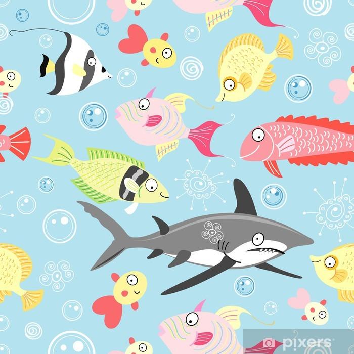 Fototapeta winylowa Wzór z kolorowych ryb - Zwierzęta żyjące pod wodą