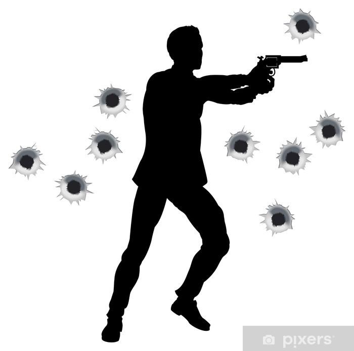 Vinilo Pixerstick Héroe de la acción en la lucha del arma silueta ...