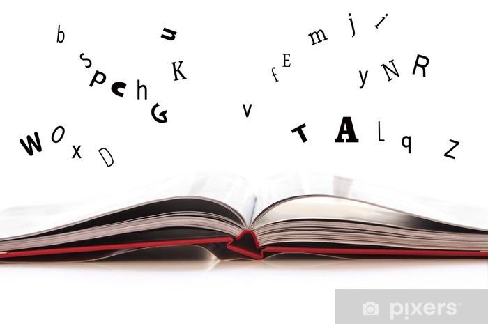 Naklejka Pixerstick Livre ouvert lettres et qui s'envolent - Tematy
