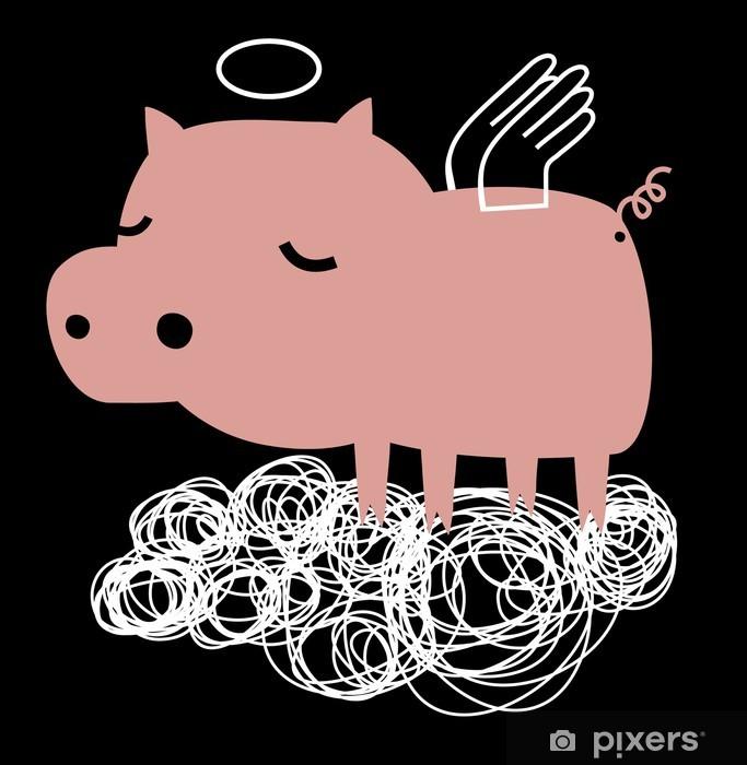 Vinilo para Nevera Cerdo divertido ángel en una nube - Animales fantásticos