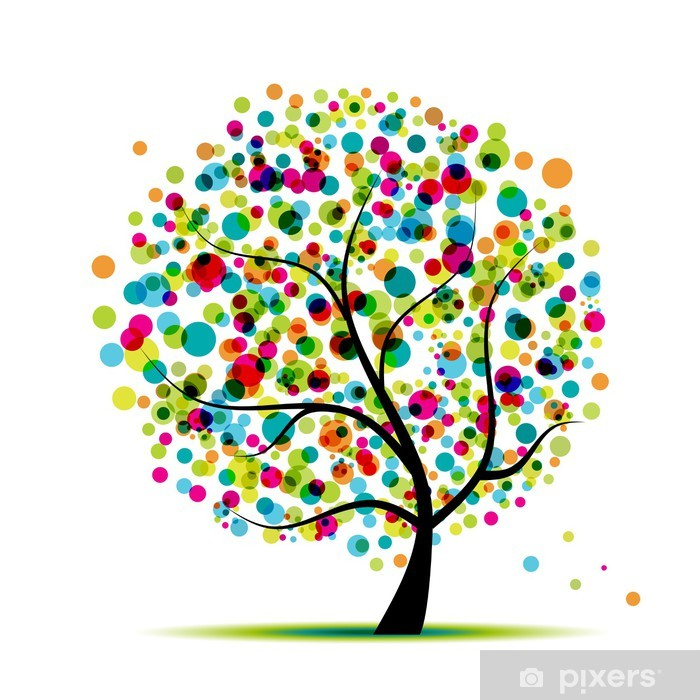 Plakat Abstrakcyjny, drzewo, wiosna dla projektu - Tematy