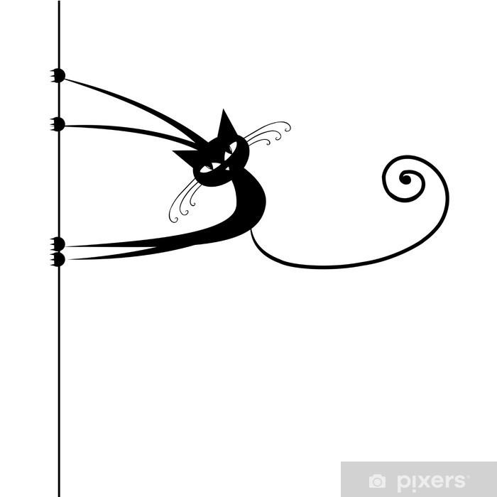 Vinilo para Nevera Divertido gato negro para su diseño - Destinos