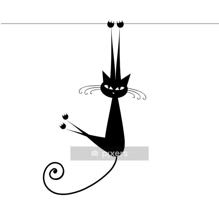 Sticker mural Funny cat silhouette noire de votre conception - Mammifères
