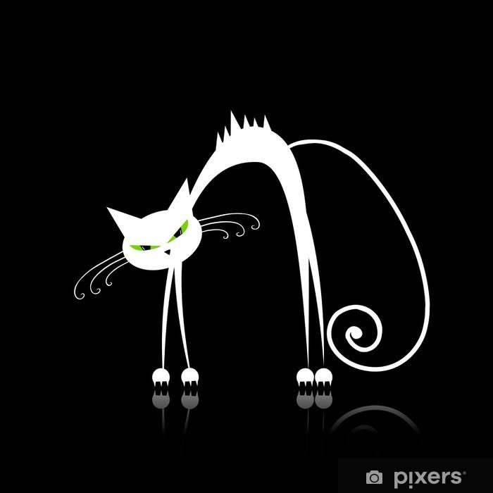 Sticker Pixerstick Angry chat blanc pour votre conception - Mammifères