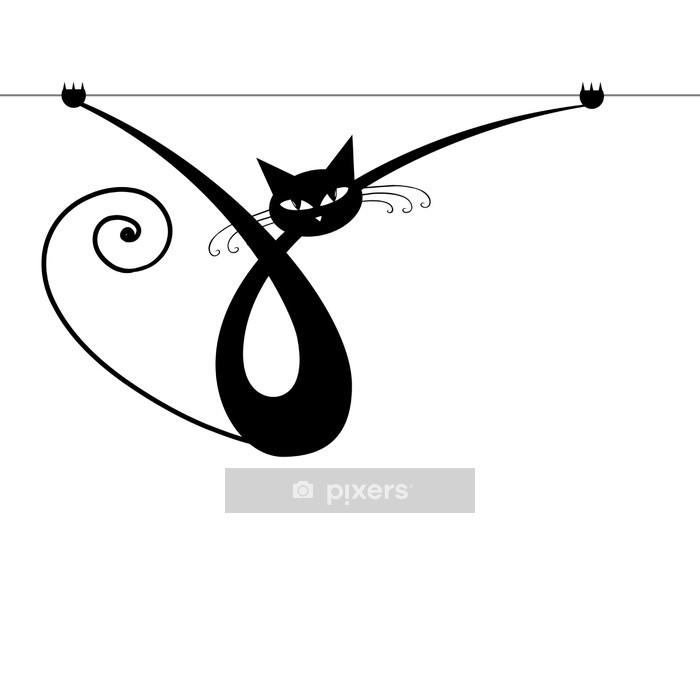 Muursticker Bevallige zwarte kat silhouet voor uw ontwerp - Zoogdieren